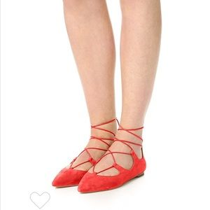 • Loeffler Randall • Ambra Lace Up Flats Suede Red